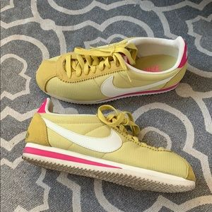 Shoes - Nike Cortez Yellow Pink Sneakers size 8